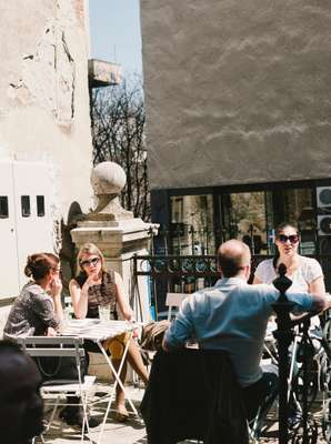 Lunchtime patrons at Smokvica restaurant in Belgrade's Old Town