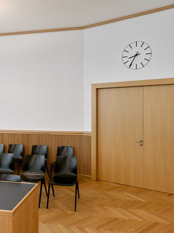 Timber lined courtroom