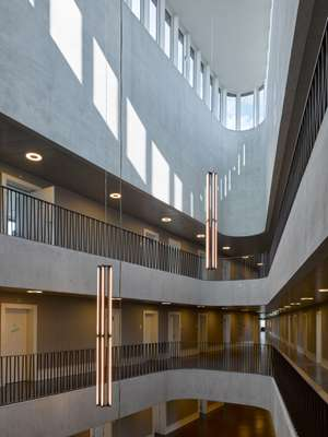 Natural light floods the five-storey space