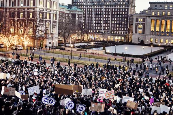 Protest at Columbia University in New York against Trump's executive order banning refugees from entering the US