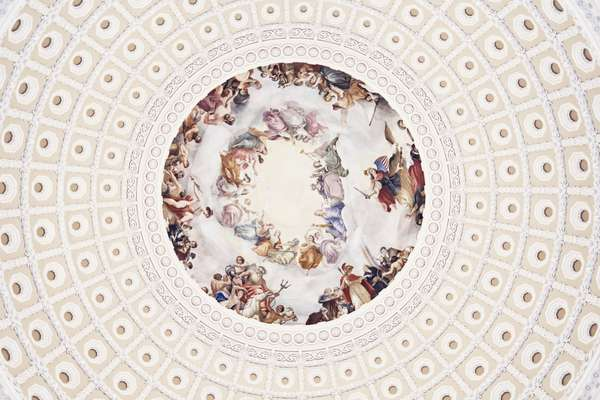 'The Apotheosis of Washington' fresco by Greek-Italian artist Constantino Brumidi inside the dome of the US Capitol
