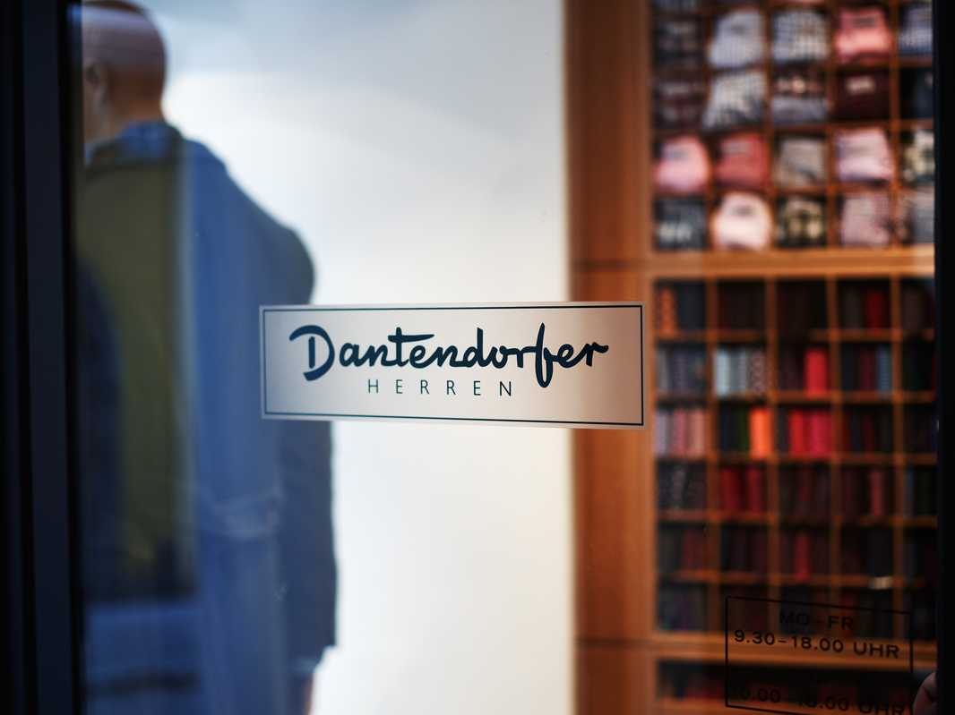 Front door of the menswear shop