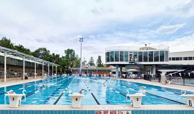 Centenary Pool with the complex's gym in the background