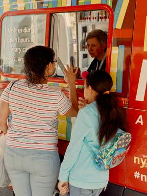 Checking out at the Bookmobile