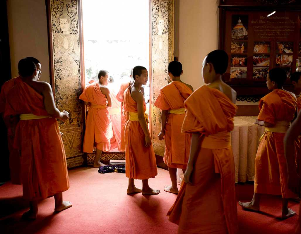 Novice monks gather at Wat Phra Singh, Chiang Mai's holiest temple