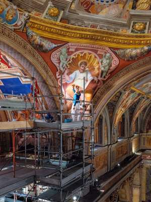 Restoration of a frescoed pendentive in San Girolamo dei Croati