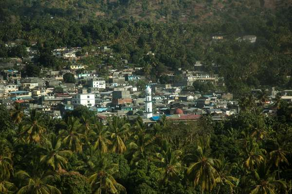 A minaret towers above a hinterland town on Anjouan