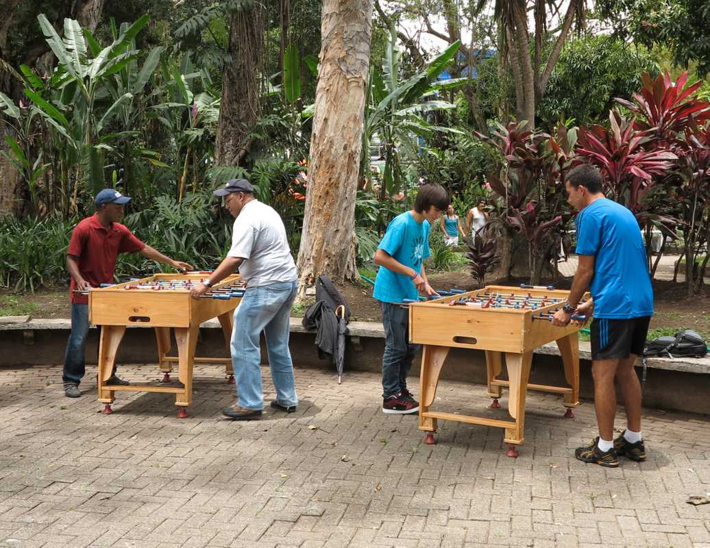Table football getting serious in one of San José's many parks
