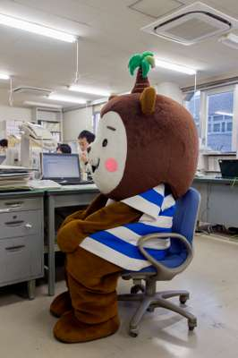 Miyazaki prefecture's mascot Muu-chan hard at work at the tourism office