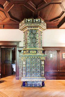 Austrian furnace from the 17th century covered in glazed majolica tiles