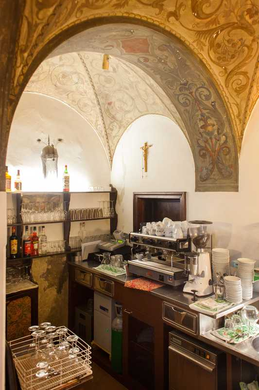 Bar below the vaulted arches