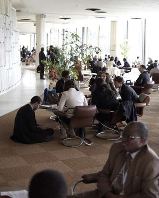 Taking a break in the cafeteria at the UN