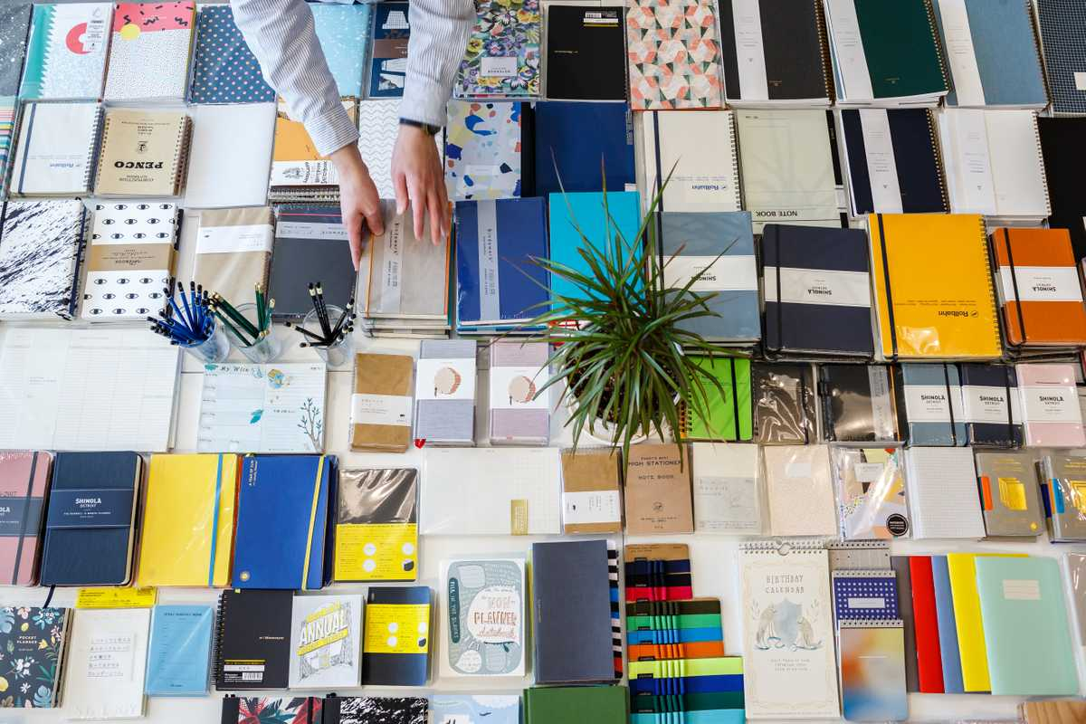 Notebooks on display at Little Otsu, Portland