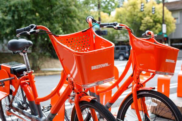 Bicycles from Portland's bike-share scheme at Division Street station, one of 100 citywide