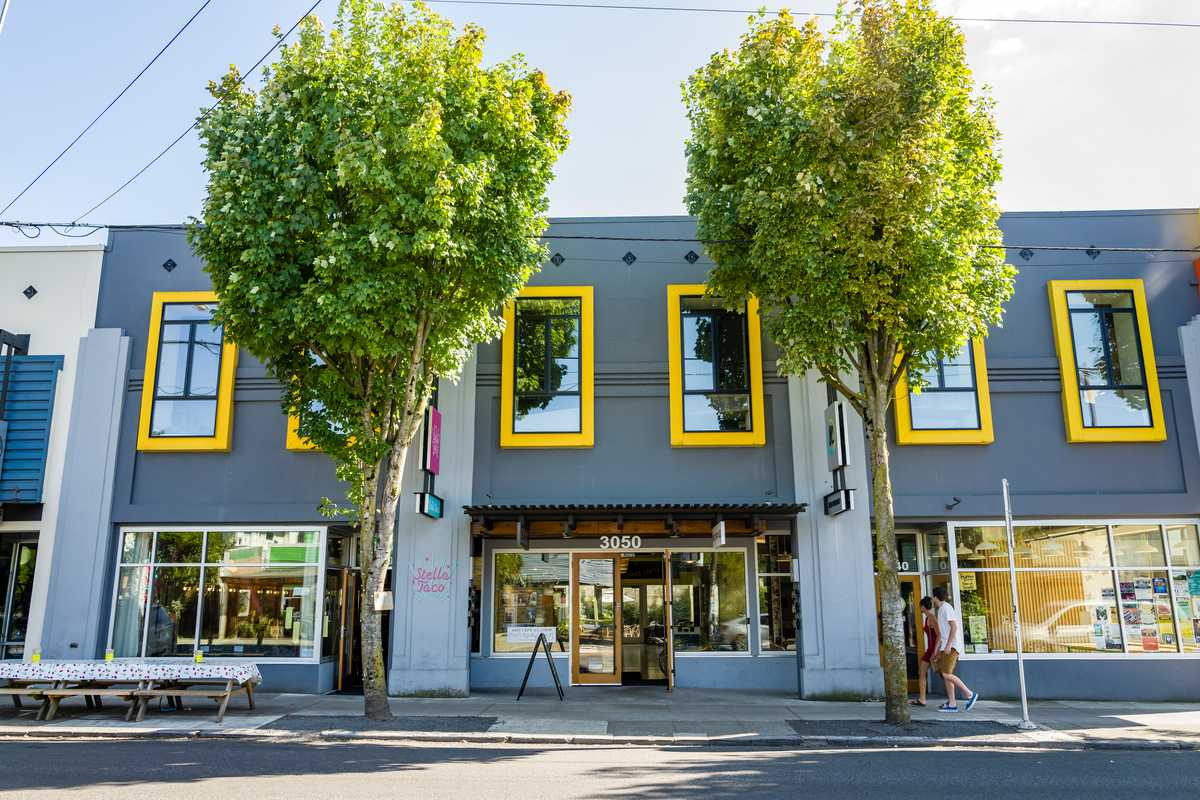 Exterior of D Street at The City Reader and Josephine's, Portland