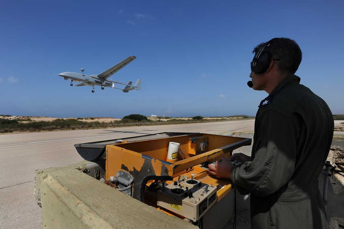 Israeli Air Force officer flies a Heron 1 UAV made by IAI (Israel Aerospace Industries)