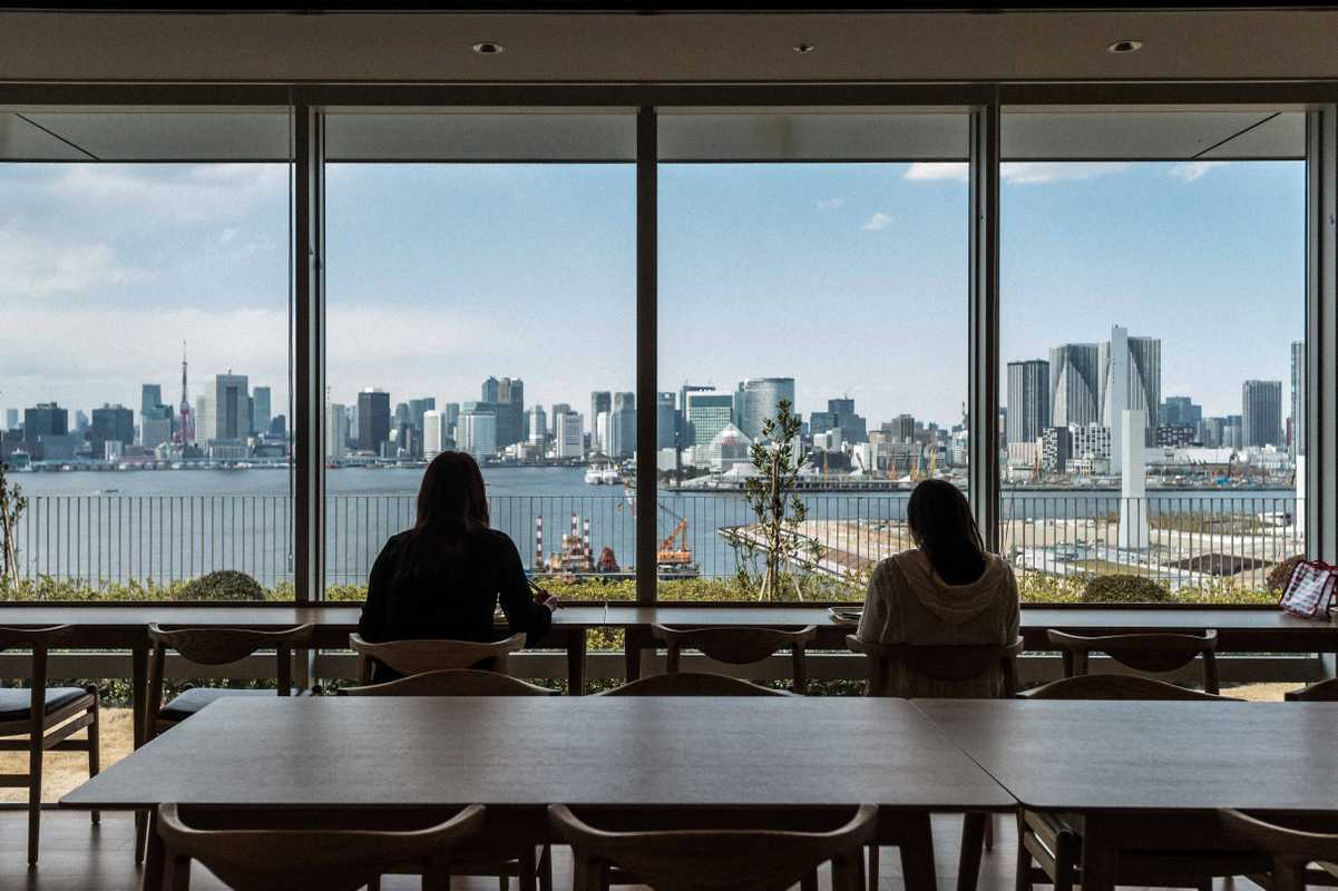 Employees enjoy views across Tokyo Bay from the comfort of the company canteen