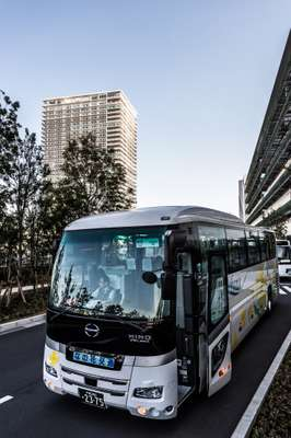 Buses shuttle staff between Uniqlo City and stations in Tokyo.