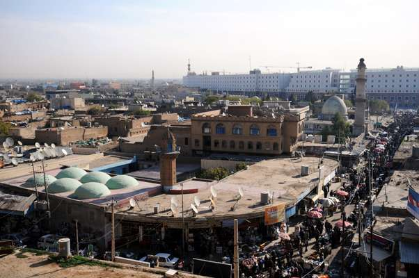 View of Arbil old town centre from the citadel