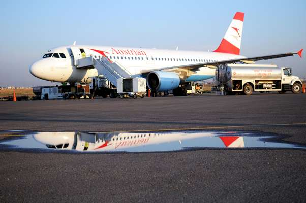 An Austrian Airlines plane on the runway at Arbil airport