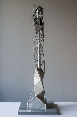 Mock-up of  the titanium Art Tower Mito