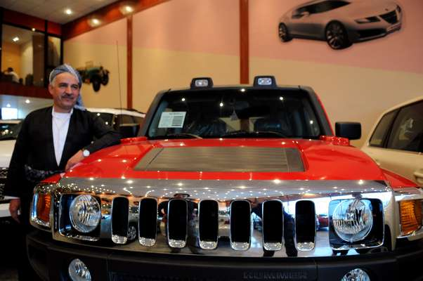 Humvee at showroom
