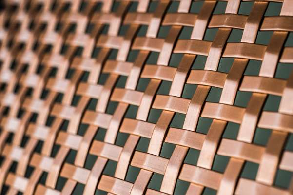 Interwoven bronze slats