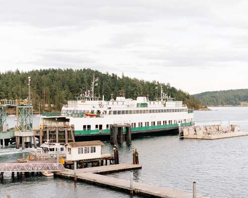 The ferry to Orcas Island docking at Orcas Village