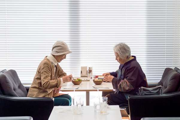 Tea time at  D & Department, Toyama, a popular meeting place for seniors