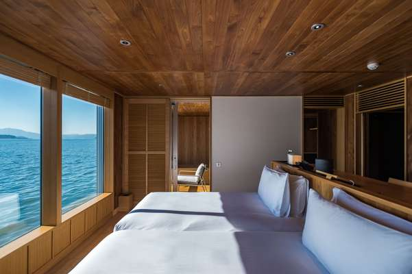 Guest rooms look out over the ocean
