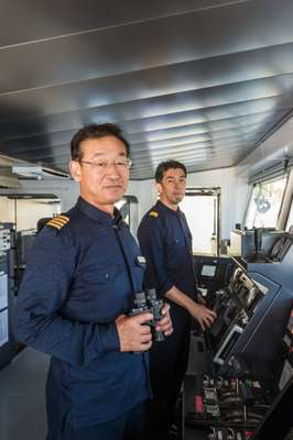 Captain Hirofumi Ochi (left) and chief mate Goro Nishina