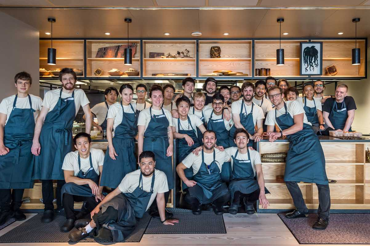 Inua kitchen team led by Thomas Frebel (leaning, front right)