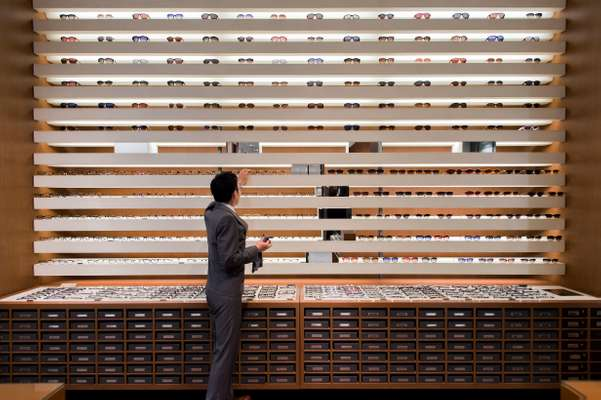 Well-organised  eyewear section