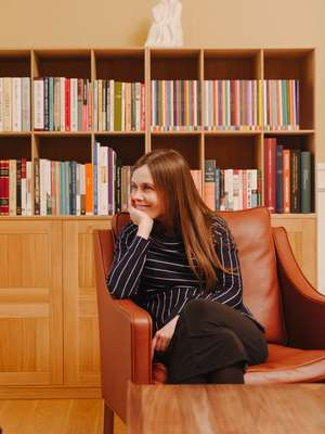 Katrin Jakobsdottir in her sitting room at Government House
