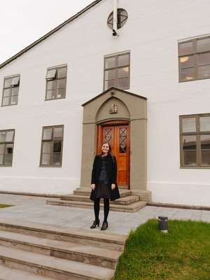 Outside Government House (Stjornarrad) in Reykjavík, built as a prison in the 1700s