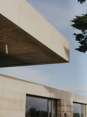 Cantilevered concrete roof