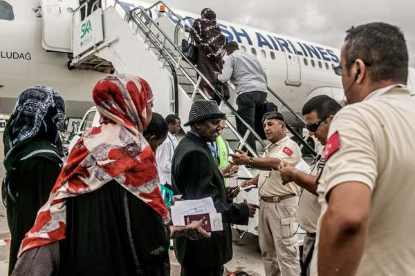 Somalis boarding a Turkish Airlines flight to Istanbul