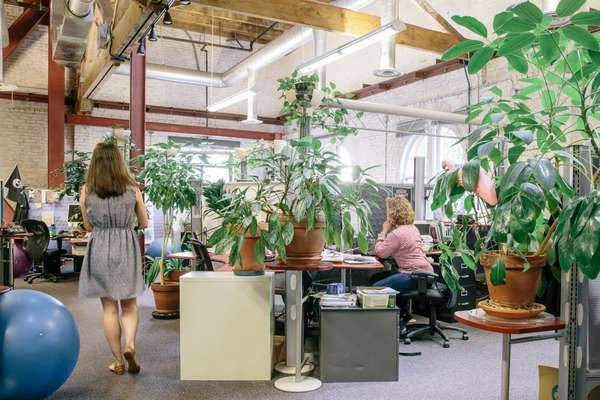 Workspaces at Ecotrust's headquarters
