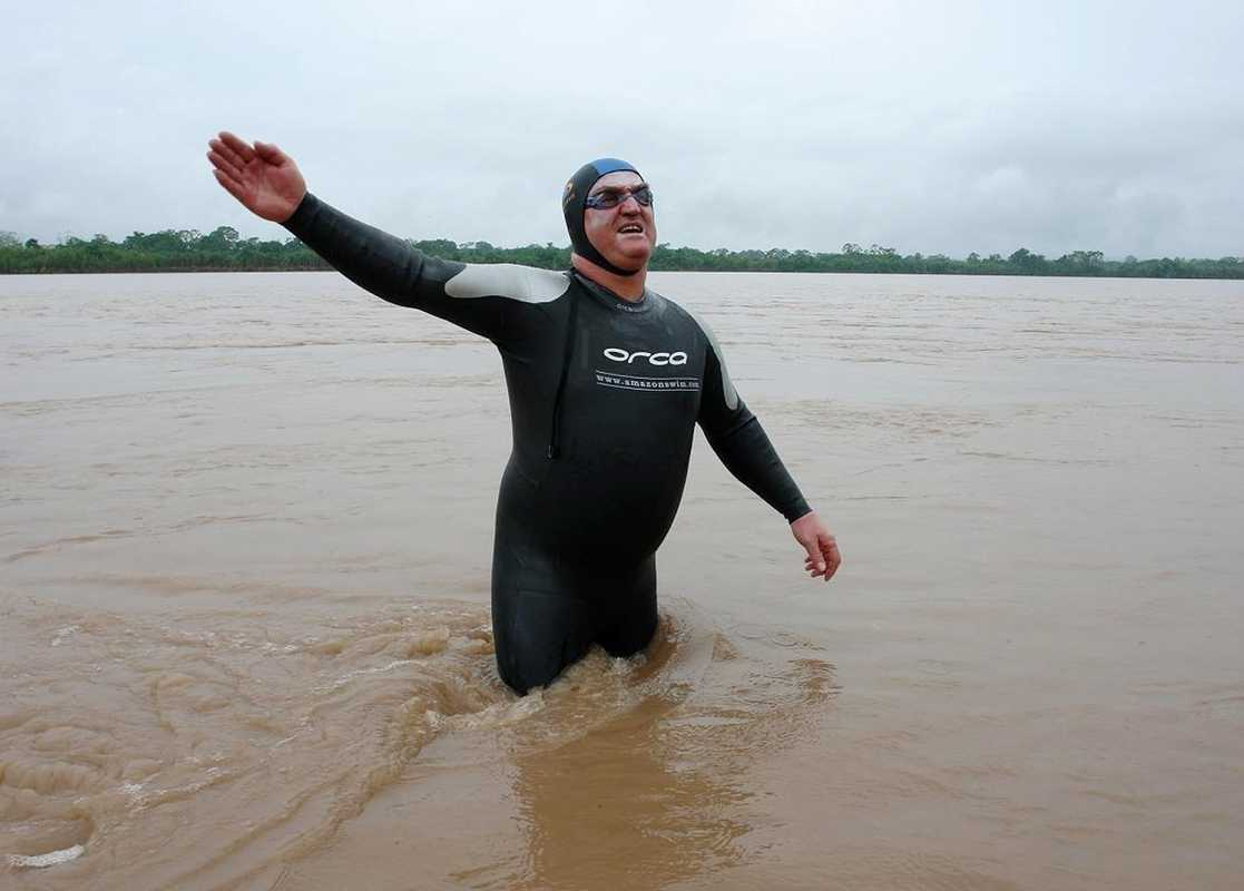 Strel in the Amazon in Peru at the start of his swim down the 5,268km river