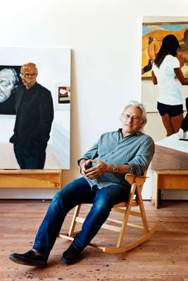 Eric Fischl in his studio