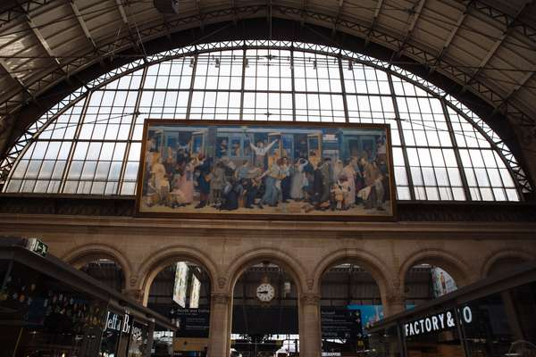 Albert Herter's 'Departure of the Infantrymen, August 1914' at Gare de l'Est, original boarding point for the Orient Express