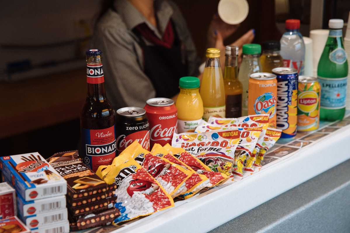 Board of fare at one of Europe's swifter snack bars