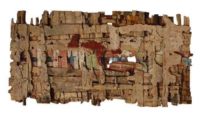 Patched Relics of Grandma's First Kente, Eva Obodo, 2012, wood and acrylic