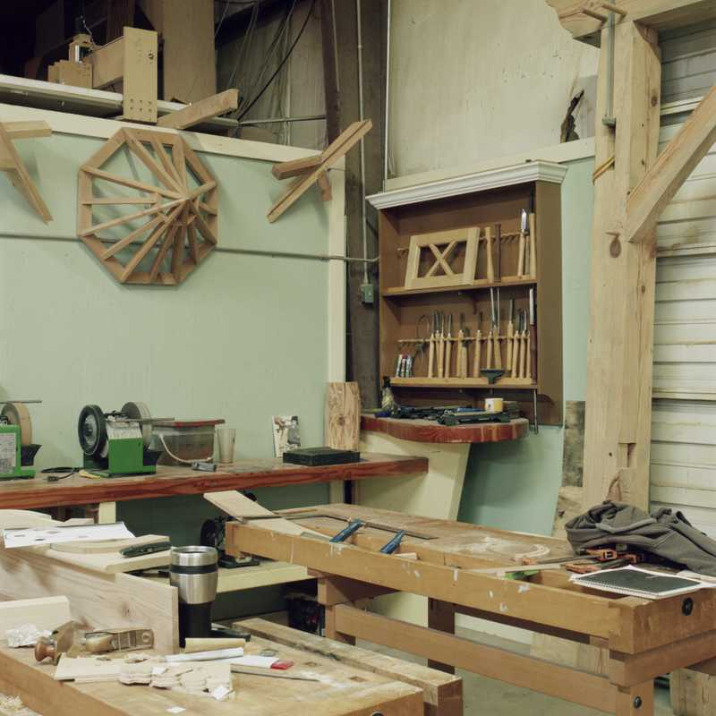 The work area at James Island Workshop