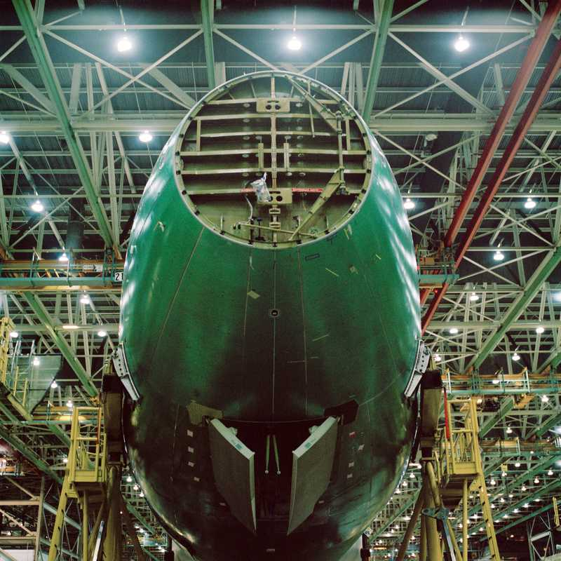 The nose of a passenger aircraft version of Boeing 747-8
