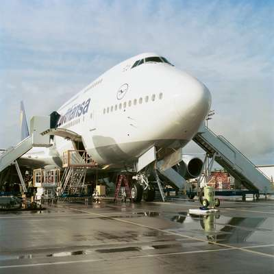 A Boeing 747-8 being completed for Lufthansa