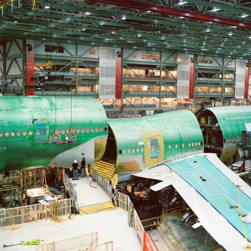 The back portion of the aircraft is set into place for joining