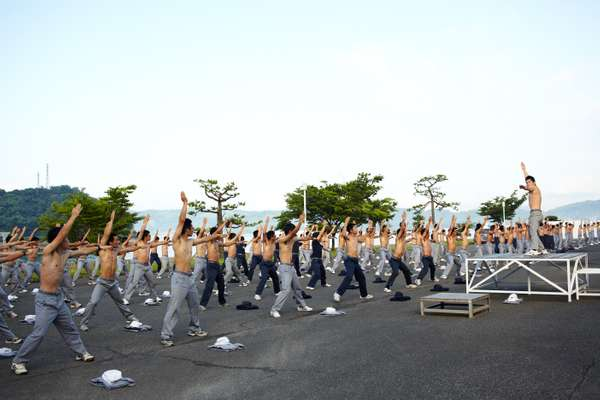 Daily morning exercise  takes place at 06.30
