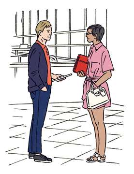 LEFT: CARDIGAN by Prada, POLO SHIRT by Hermès, TROUSERS by Jacob Cohën, TRAINERS by John Lobb; RIGHT: SHIRT AND SKIRT by Salvatore Ferragamo, SANDALS by Santoni, GLASSES by Persol, BAG by Gucci, COMPUTER SLEEVE by L/Uniform