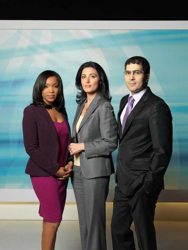 AJE anchors Folly Bah Thibault, Ghida Fakhry and Sami Zeidan